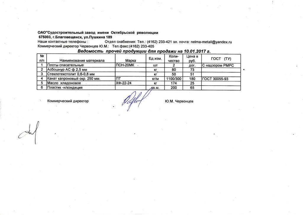 Плоты спасательные, ГСМ, канаты капроновые и прочая продукция для продажи на 10.01.2017 г.