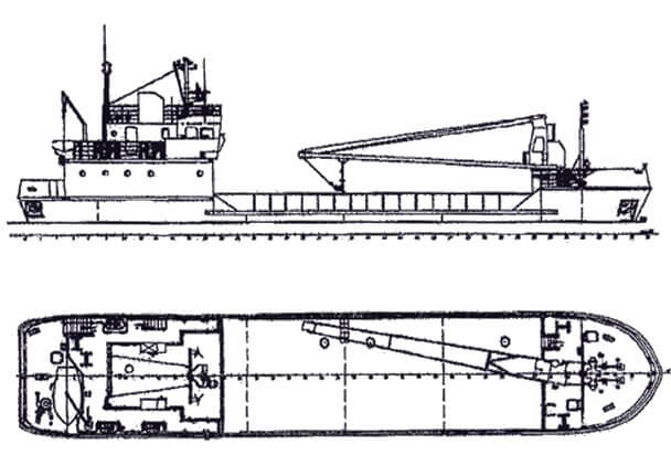 ТЕПЛОХОД-ПЛОЩАДКА г/п 170 т. Проект 10253